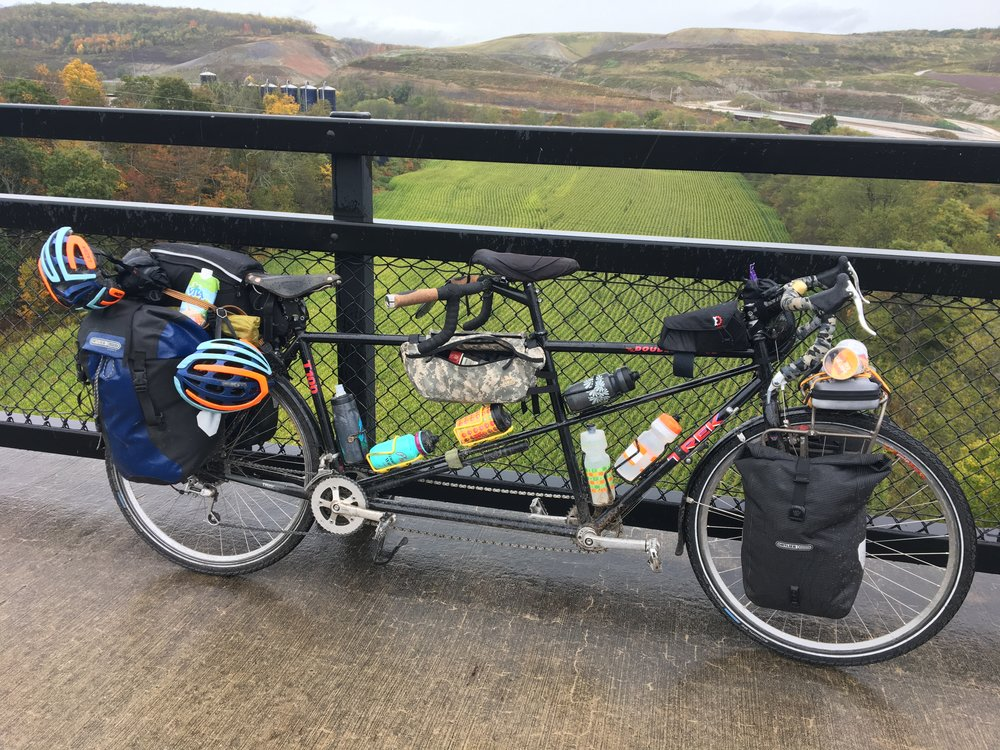 Here's the Tandem that Katharine and myself rode.  We picked it up used to see if we liked the Tandem thing and it was really great.  It handled the load very well.  I loved the multiple water bottle mounts.  Disc brakes would have been great, but overall we were very happy with it.