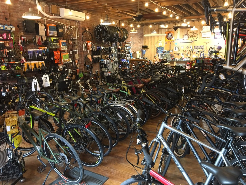 Here is our current layout as of this morning.  As we stock more bicycles and product the space has become increasingly crowded.  We want to be able to better merchandise the store and allow for better flow for our customers and staff.