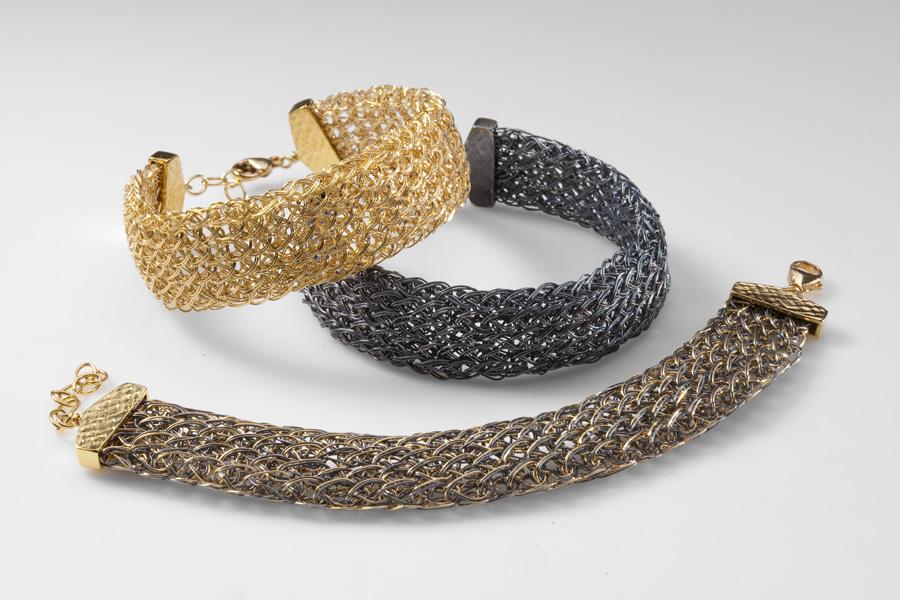 Flat handwoven chain bracelets