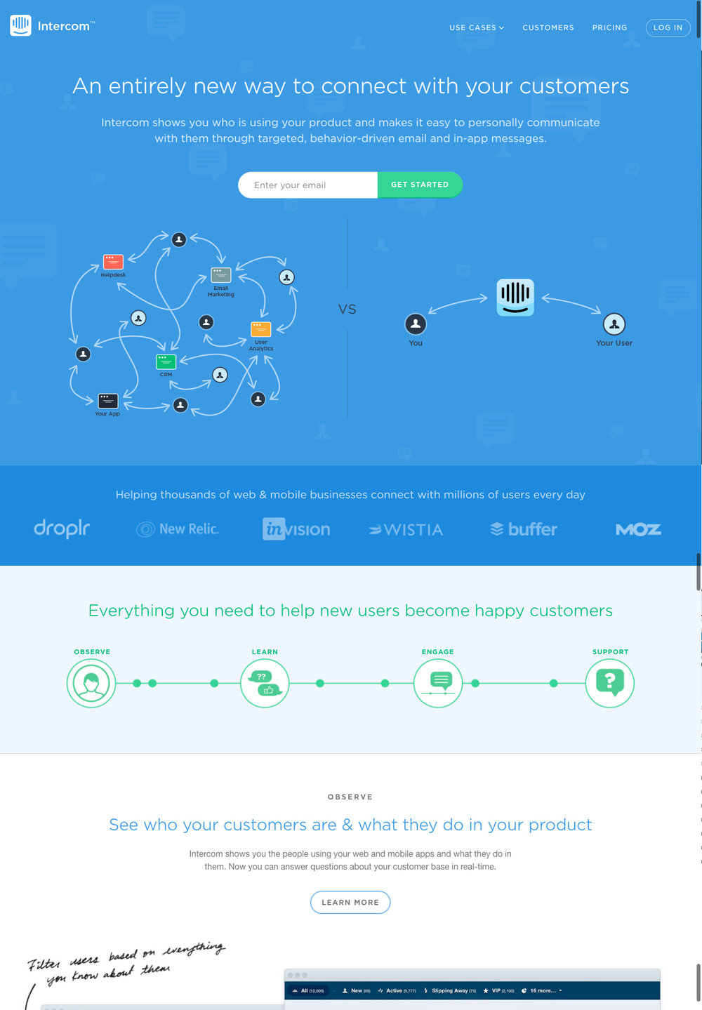 Intercom website, 2015