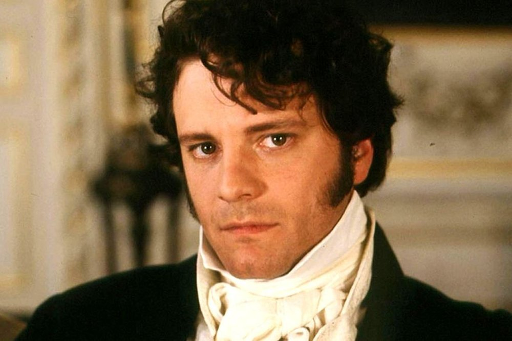 Regency man: longer hair & sideburns - Colin Firth as Mr Darcy (1995)