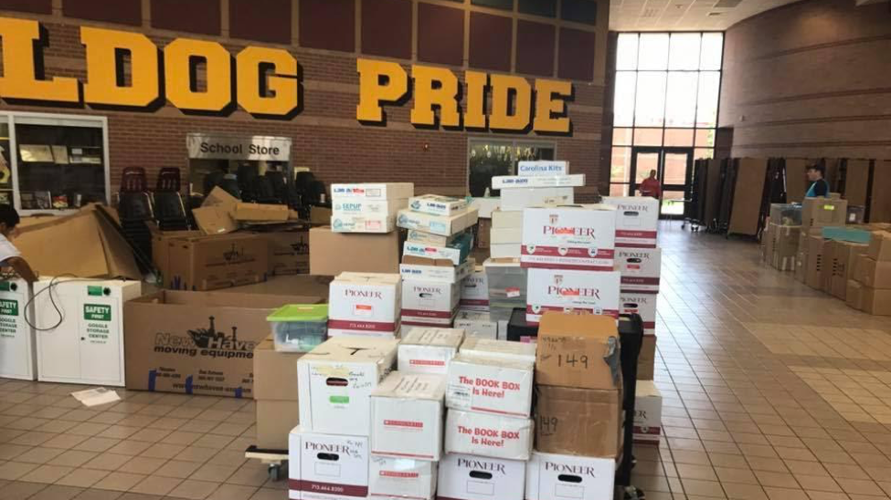 Boxes were piled high as we packed in preparation for the re-build process to begin. Time was of the essence. We desperately wanted our students to return together with the rest of Clear Creek ISD in the same building.