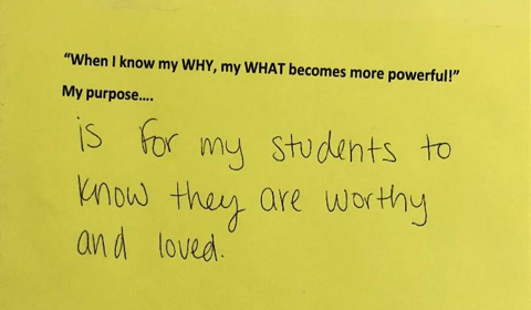 """Each staff member routinely reflects on their purpose as it relates to our Brookside mission and has them posted outside their doors. We share our purposes with our students in our """"class meetings."""""""