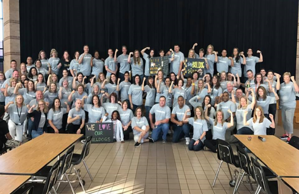 """Our """"BulldogStrong"""" staff as we prepared to open the doors to our students for their """"second"""" first day of school after Harvey. We were ready! The amount of love and dedication this team showed to get our building ready inspires me often!"""