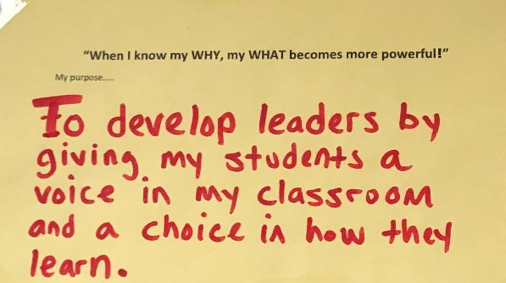 """Another example of a note posted outside a staff member's door. We share our purposes with our students in our """"class meetings."""""""