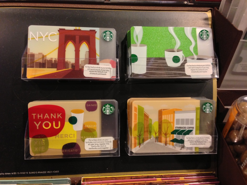 Art direction was based on Starbuck's physical gift cards.