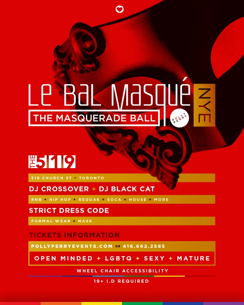 "Le Bal Masqué ~ Polly Perry's Masquerade Ball 🎭 Location: 519 Church St. ~ Doors open 10 p.m. ~ Event ends at 4:00 a.m. . Be there for the Champagne 🍾 midnight Countdown! . This is an event you DO NOT want to miss. . Proceeds from every ticket sold will go to the 519 programs. . This is a Formal Event. Admission includes: Complimentary Midnight Champagne 🥂 ~ Masks ~ Breakfast in the morning & more. . Bottle service & Specials available. NYE $120 Moët 🍾 specials!! . You can get tickets while they last, online at wwwpollyperryevents.com, in person or at the door. . Click learn more or the link in the bio to get your tix NOW. . ""Be There Be You"" ."