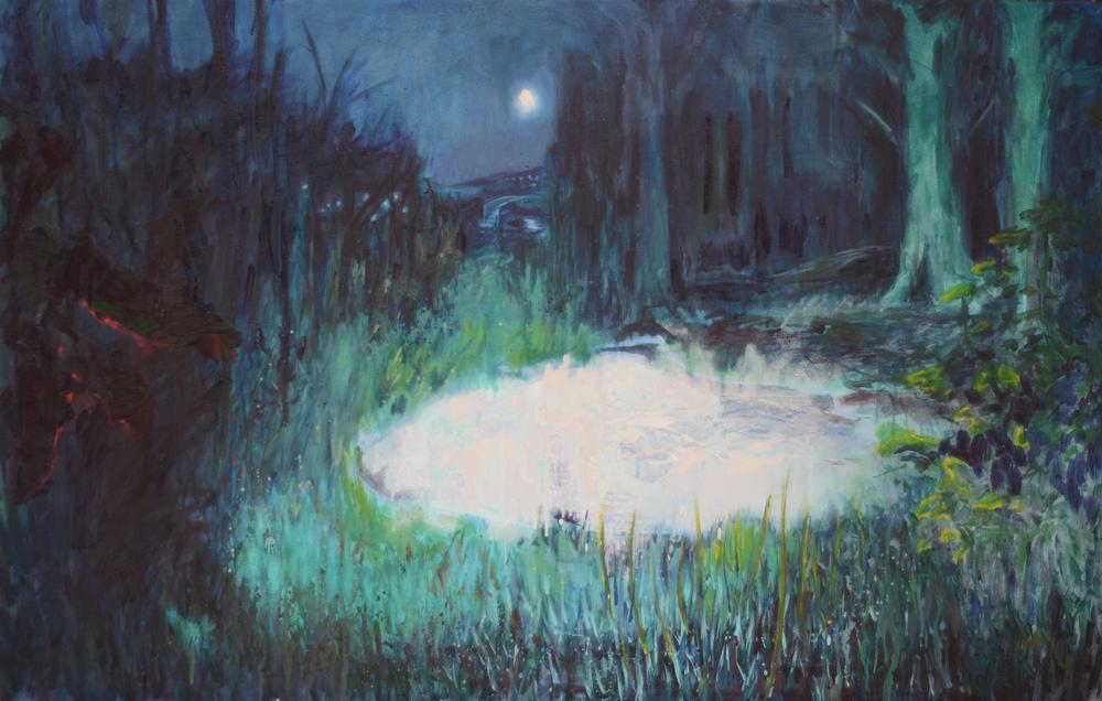 Night Walks 4ft6inx3ft oil on canvas 2014 sold