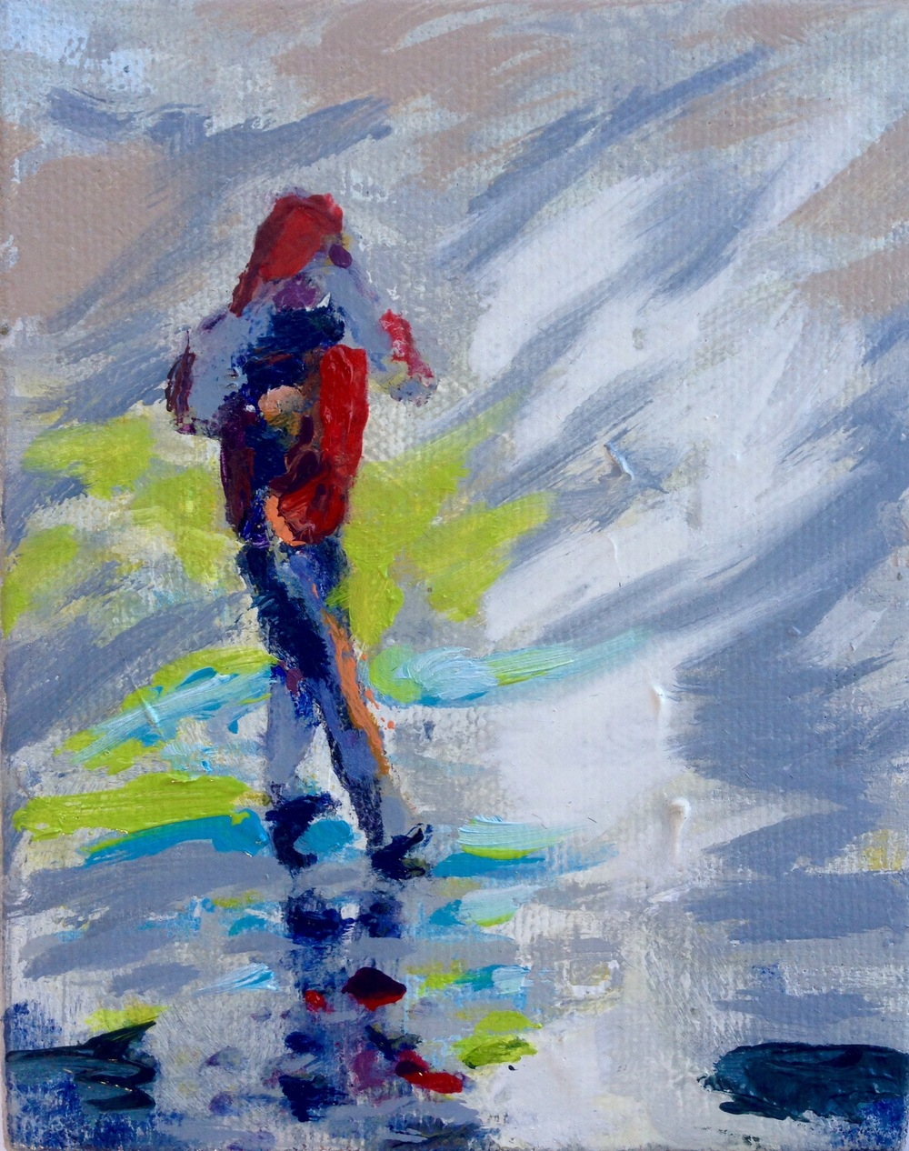 Beach Walker  4inx5in Oil on canvas 2016