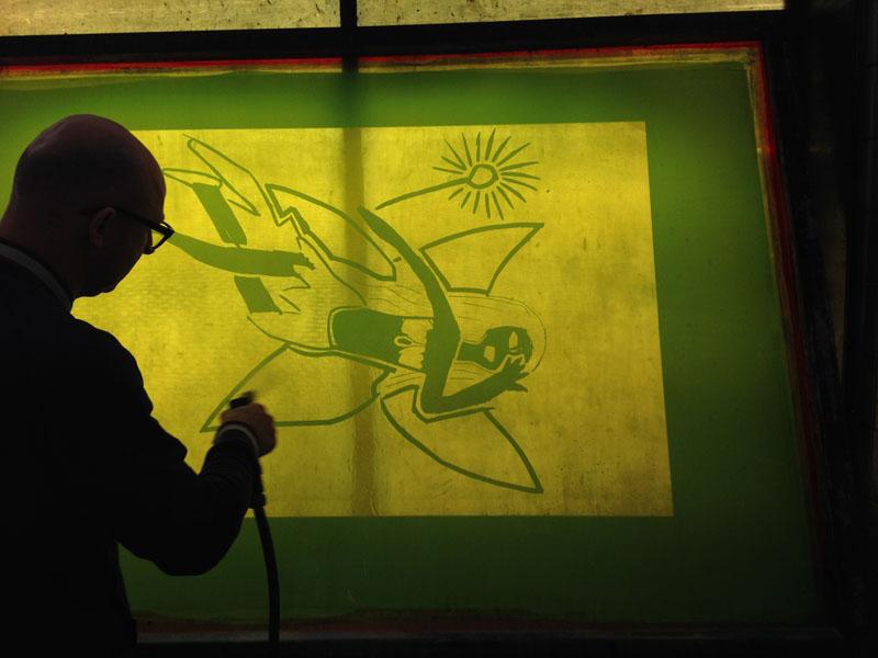 Jeroen aan het werk bij Grafisch Atelier Daglicht