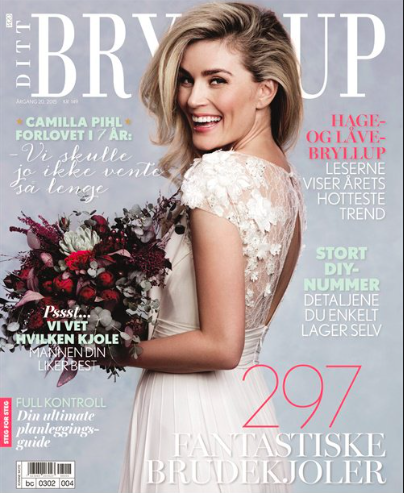 I 2015 utgaven av Ditt Bryllup fikk vi en helsides reportasje på firmaet, vi. fikk et bryllup på trykk og Nina var stylingsassistent på den store brudekjoleshooten.