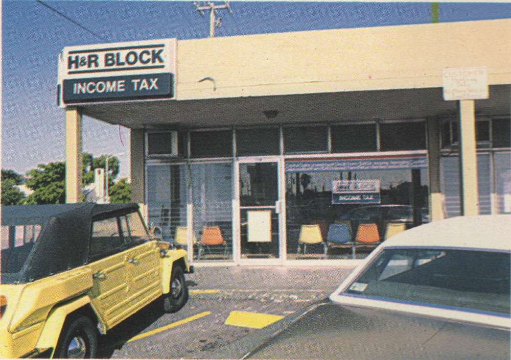 The storefront where they met for the first six months. It eventually became an H&R Block.