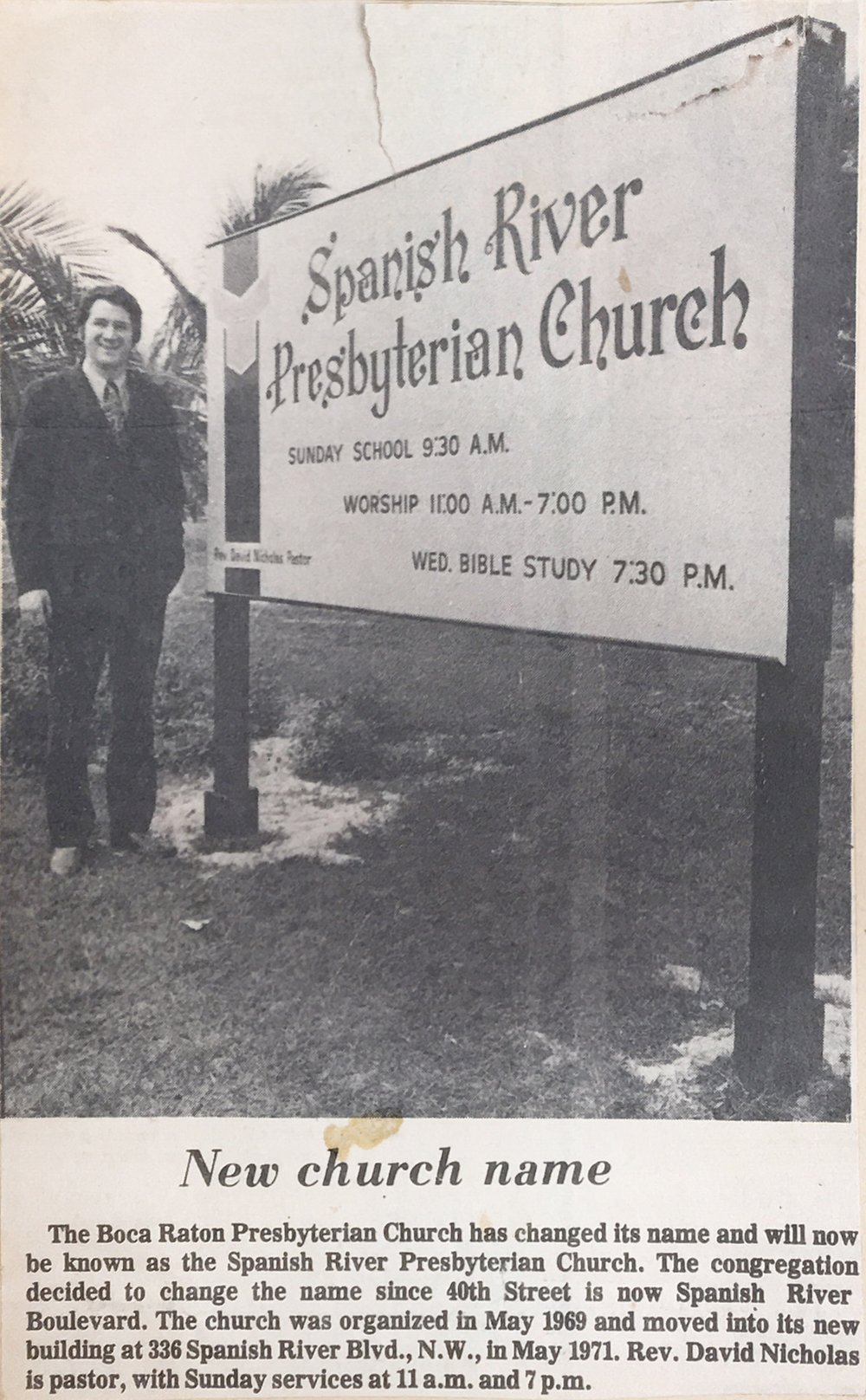 Newspaper clipping announcing the church's new name.