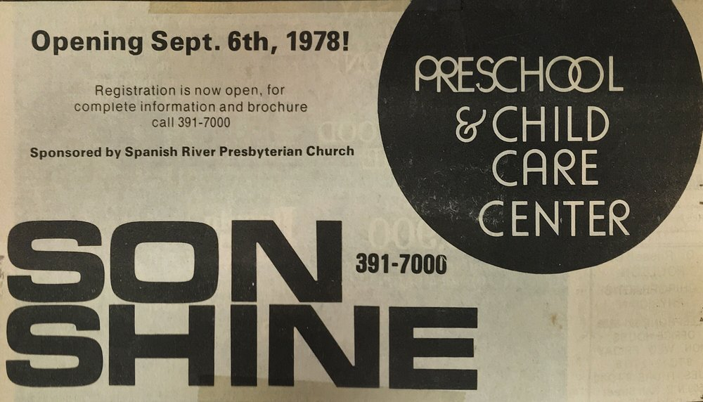 Newspaper advertisement for SonShine Preschool.