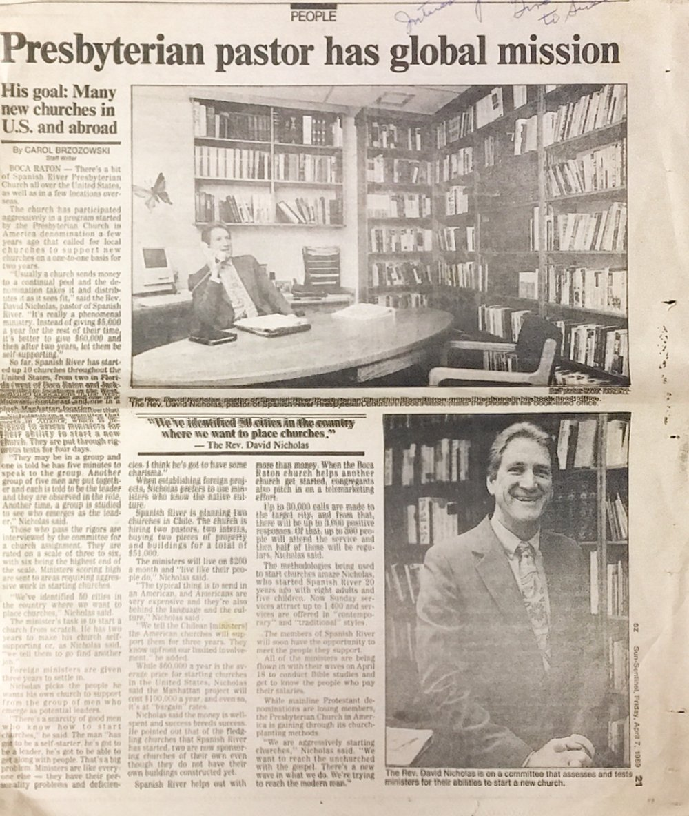 Newspaper article detailing the church's mission shift to church planting.