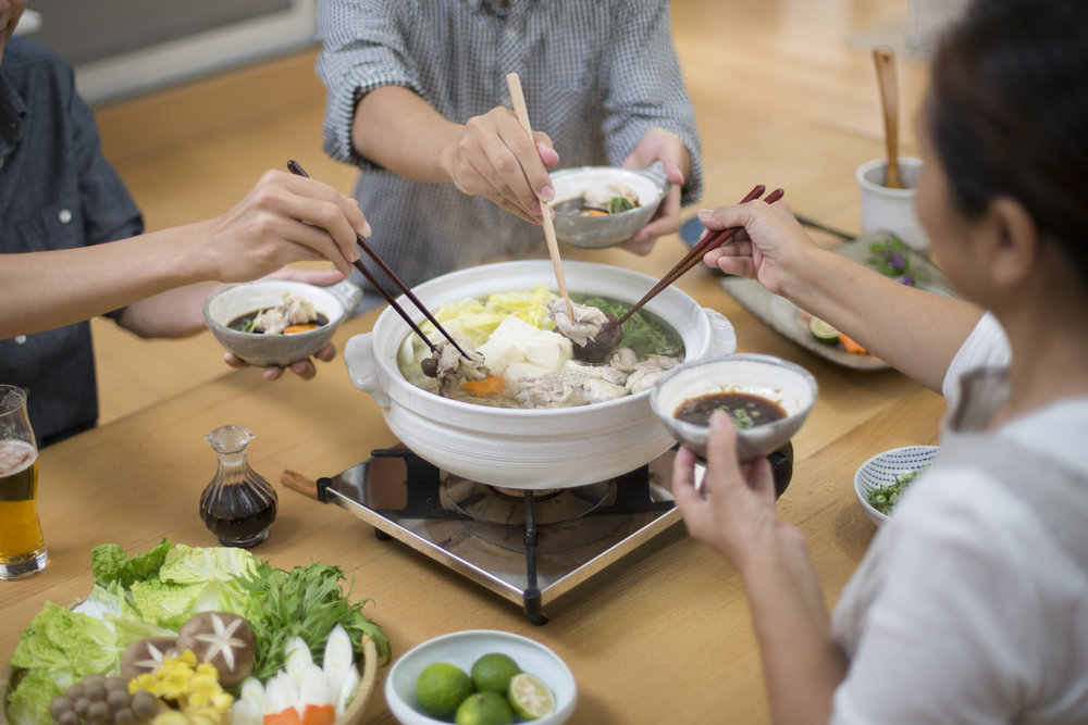 One of my favorite meals, especially in the cooler months, is a nabe (pronounced nah-bey, which literally means bowl). With a single piece of konbu boiled in water as a base, adding vegetables and seafood or other lean meats, it's a delicious and really satisfying family meal.  And super healthy.