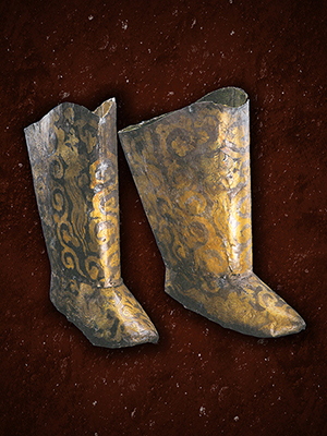 Gilt silver boots with design of phoenixes | Tomb of the Princess of Chen, Naiman Banner, Tongliao City | Gilded silver | Liao dynasty | Inner Mongolia Archaeological Research Institute