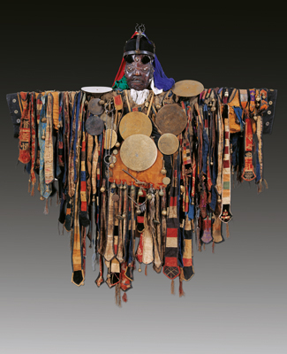 Shaman costume decorated with ribbons, mirrors, bells, arrows and animal bones.  1644–1911 (Qing dynasty), Inner Mongolia Museum