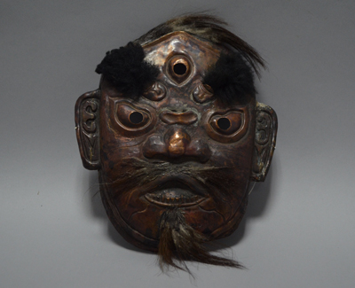 Three-eyed mask, part of shaman costume.  1644–1911 (Qing dynasty), Inner Mongolia Museum