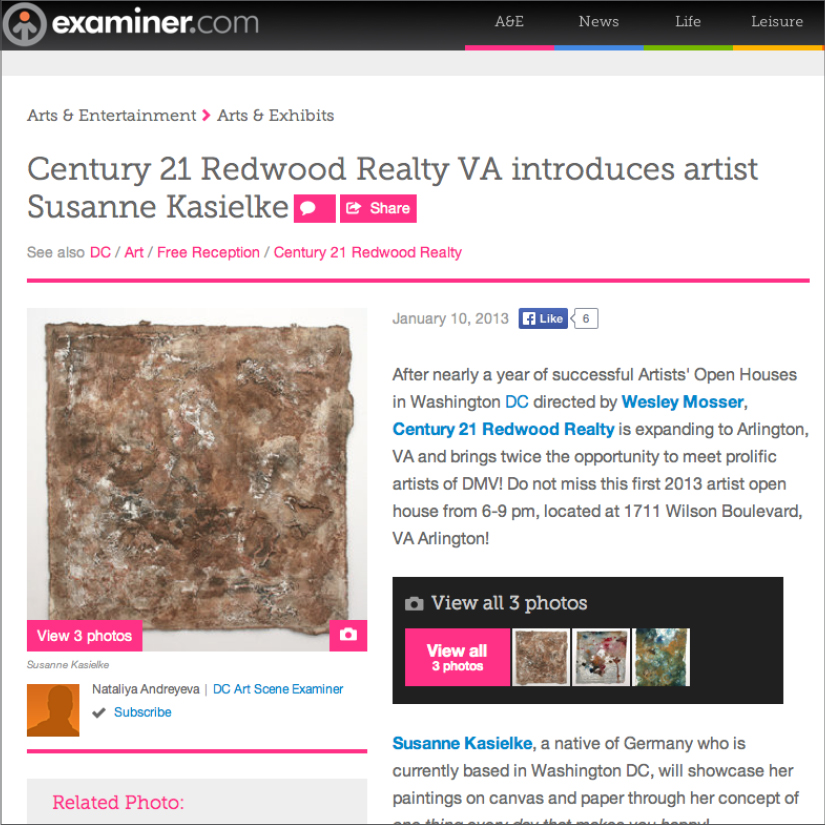 EXAMINER: Century 21 Redwood Realty introduces artist Susanne Kasielke, 01/2013