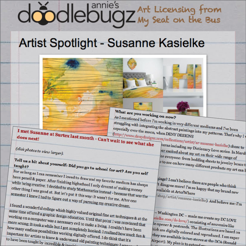 ANNIE'S DOODLEBUGZ: Artist Spotlight. Click here to read, 06/2014.