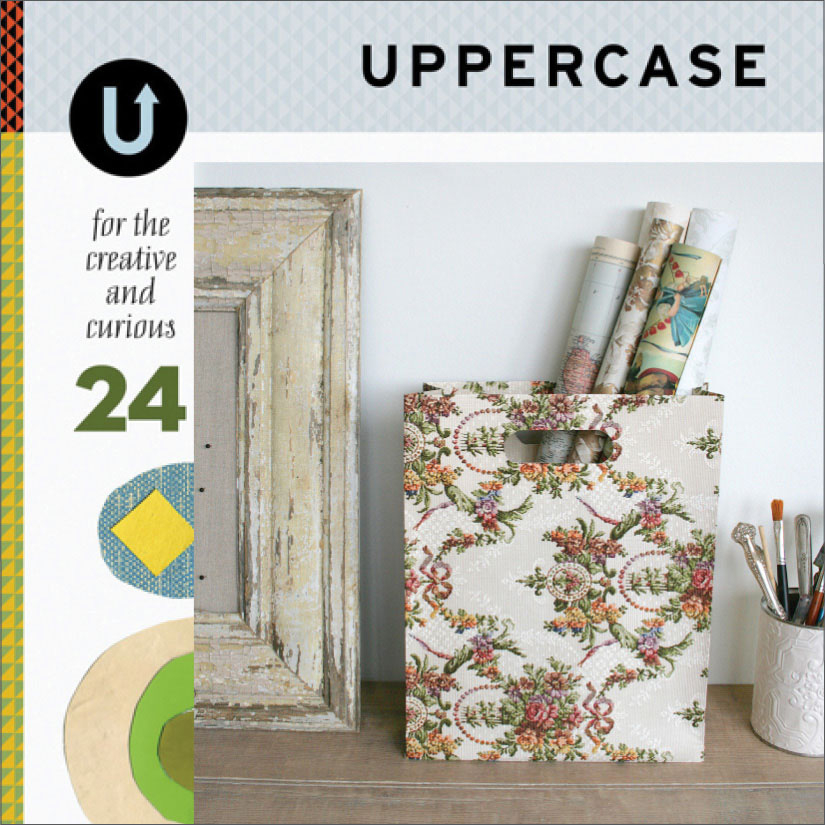 UPPERCASE: Her vintage wallpaper bags are featured in issue 24, 02/2015. Click here to see the whole page, 02/2015