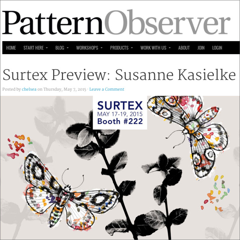 PATTERN OBSERVER: Feature by Michelle Fifis, a bespoke textile design blog, Click here to read, 05/2015