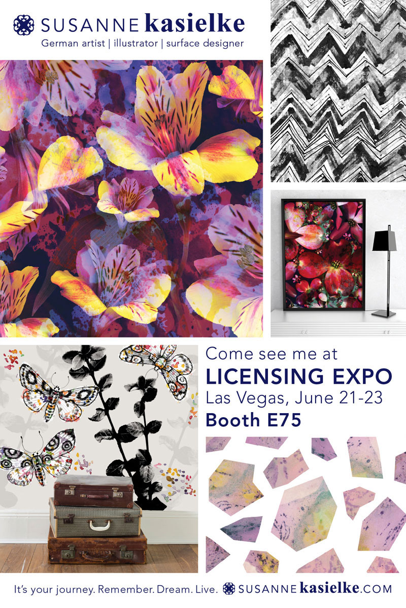 Susanne's promotional flyer with samples of her art and mock-ups for Licensing Expo 2016.