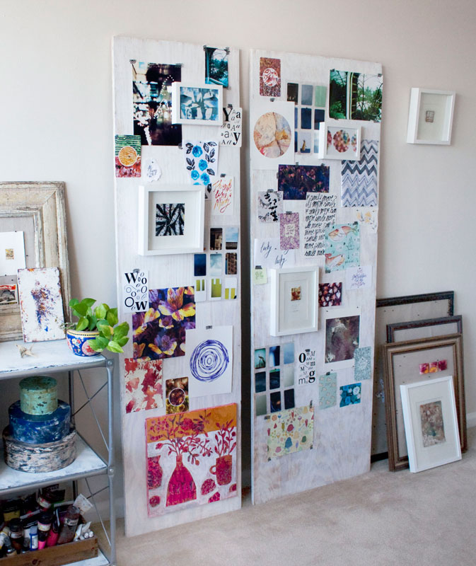 Susanne's studio. When working on new collections, she assembles ideas, sketches and inspiration to her boards to view it all together as a whole.