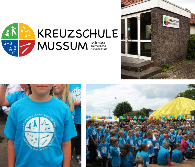 "Kreuzschule Mussum | www.kreuzschule-mussum.bocholt.de  The ""Kreuzschule Mussum"" is an Elementary School in my home town Bocholt/Germany. I created a corporate identity including logo, office equipment, T-shirts and bags."