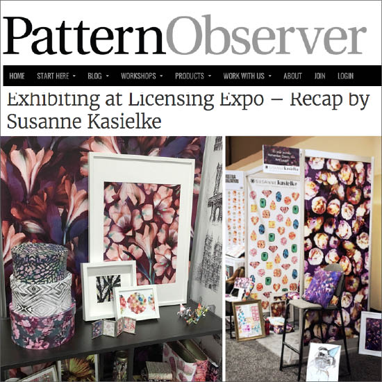 Guest post on the Pattern Observer blog about her Licensing Expo experience including 6 tips for textile designers. Click here to read, 08/2016