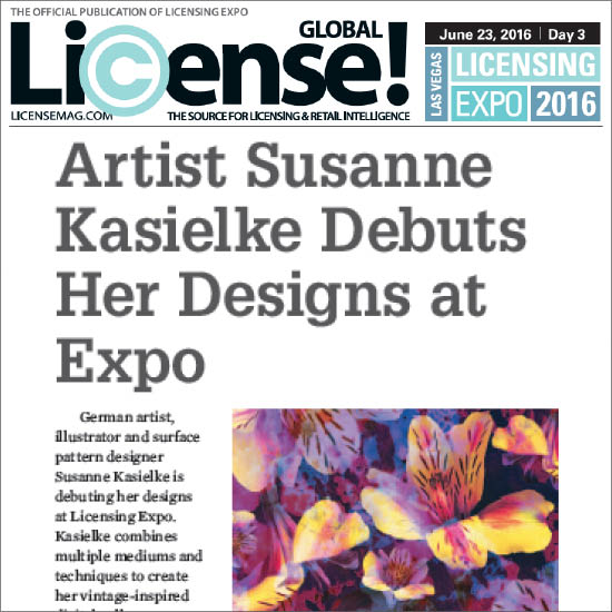 Half page feature in the official  Licensing Expo  trade show publication 2016 'Show Daily', day 3.   Click here to read   (page 40), 06/2016