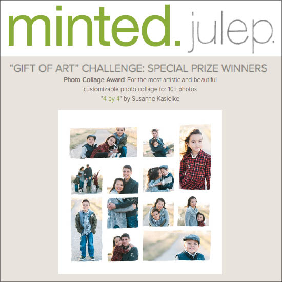 "Feature on Minted blog 'julep': Special photo collage ward for customizable photo art ""4 by 4"". Click here to read, 11/2015"