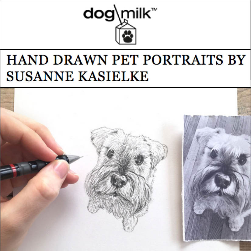 Feature on the popular pet blog ' Dog Milk ' with Susanne's hand-drawn pet portraits.   Click here to read  , 04/2017