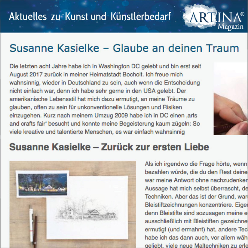ARTINA Magazin, guest post in German about Susanne's first love: pencil portraits. Click here to read, 09/2017