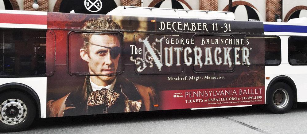 Pennsylvania Ballet The Nutcracker bus wrap advertisement