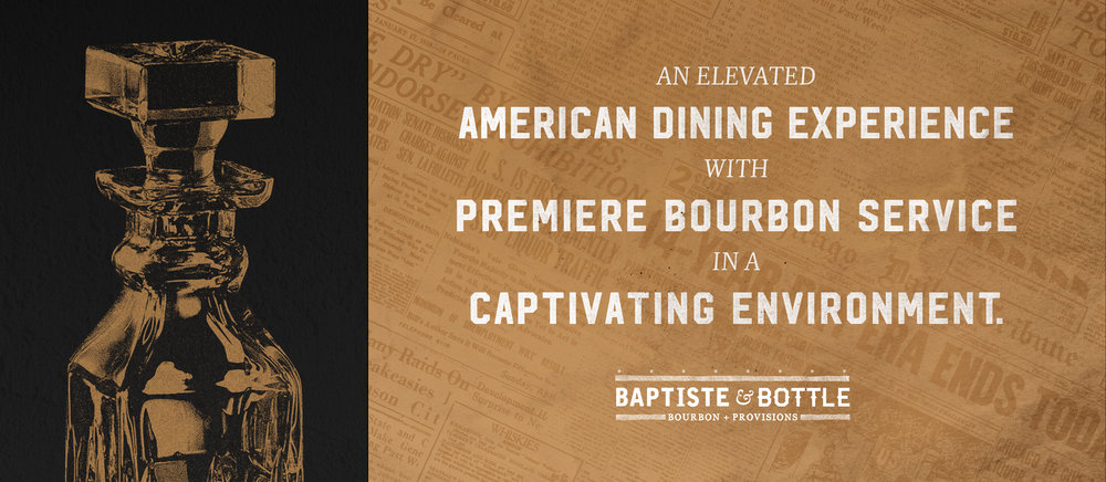 Baptiste & Bottle brand promise over prohibition era imagery