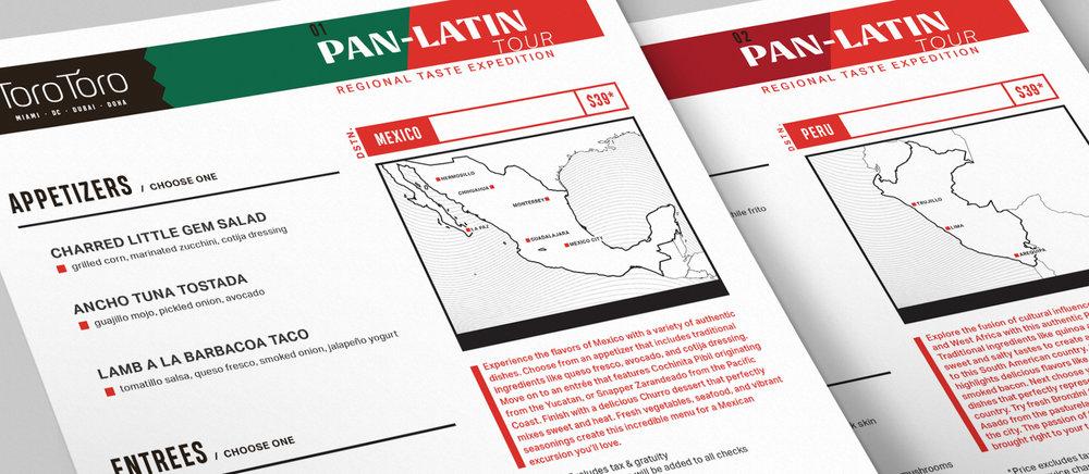 Toro Toro Pan-Latin Tour printed menus