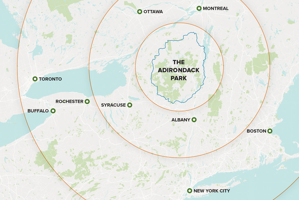 Map infographic of geotargeting strategy for Adirondack Experience