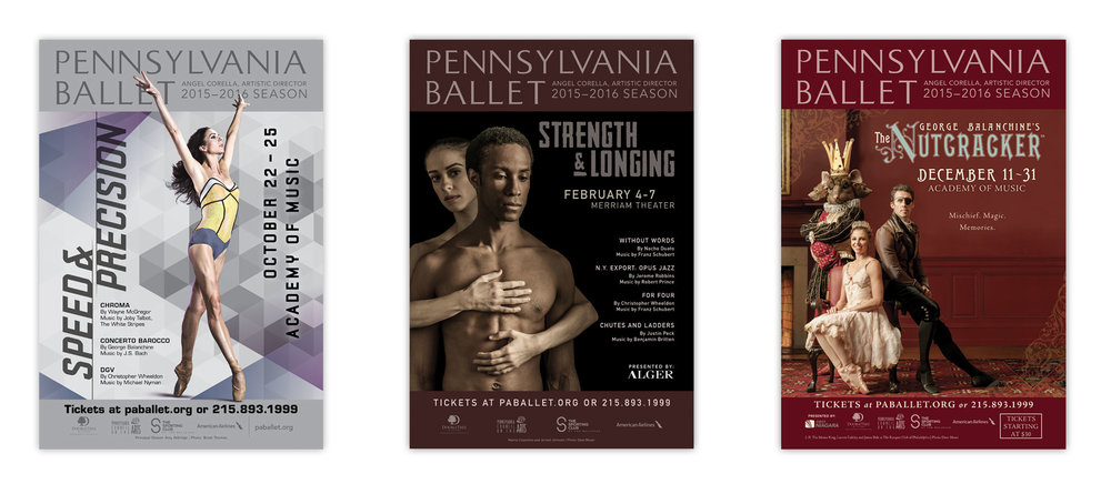 Pennsylvania Ballet 2015-2016 Season marquee posters