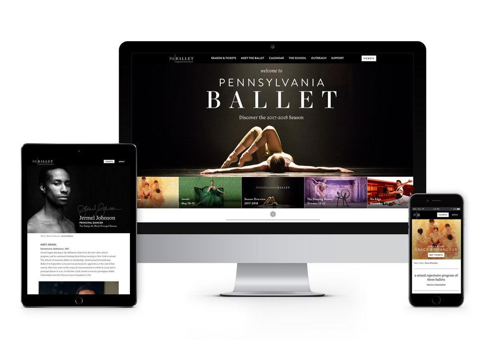 Pennsylvania Ballet website on tablet, desktop and mobile responsive design