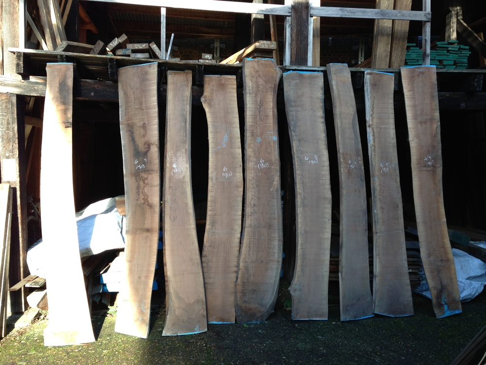 Hand-selected boards of European Walnut ready to begin its journey at the Tree Couture atelier