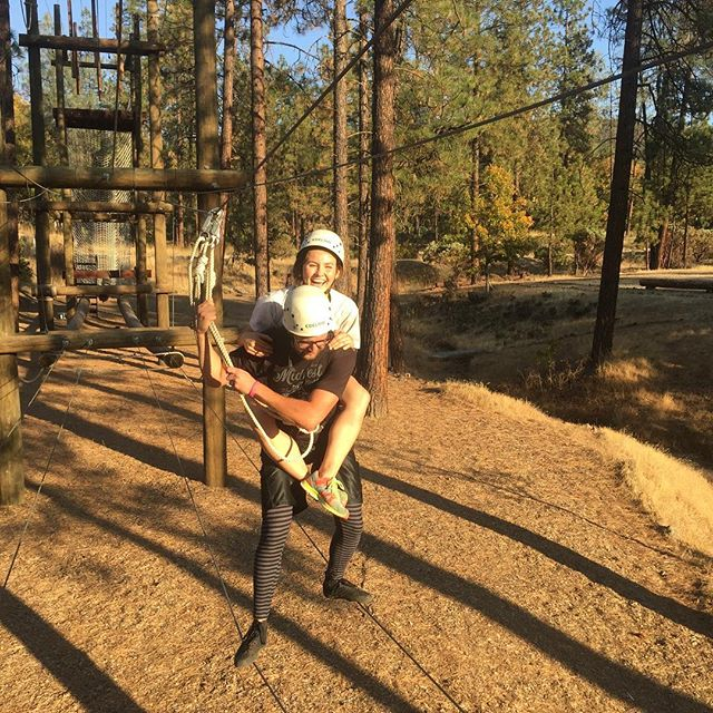 Just having fun! #thecourseca #fun #awesome #ropescourse #piggybackride