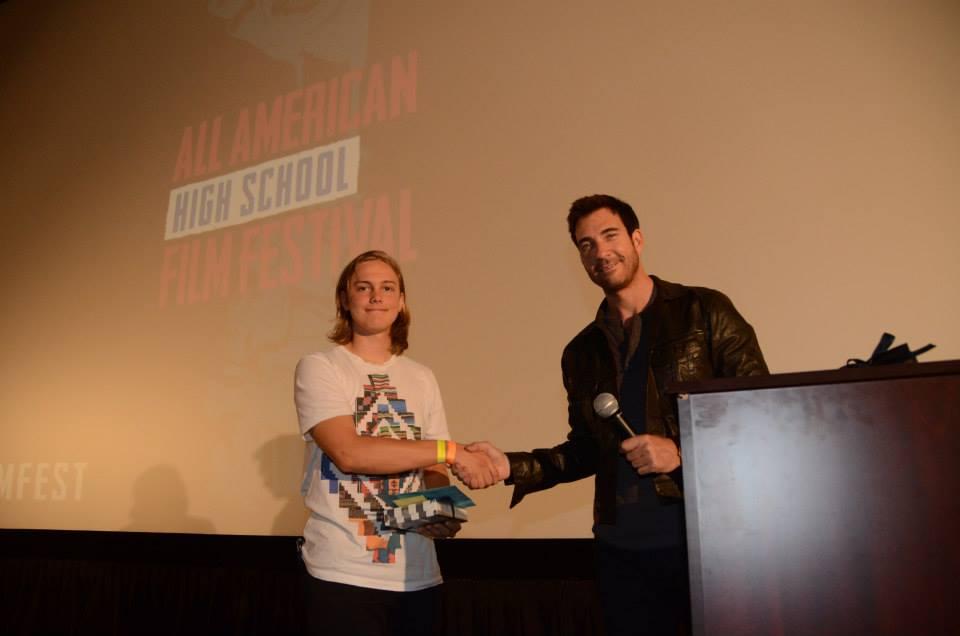 Dylan McDermott presents Best Original Score award to Mackie