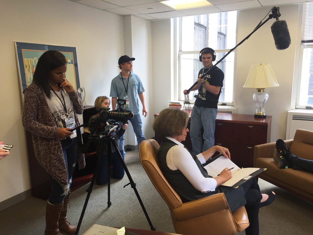 Students Shoot an Office Scene at Rockefeller Plaza