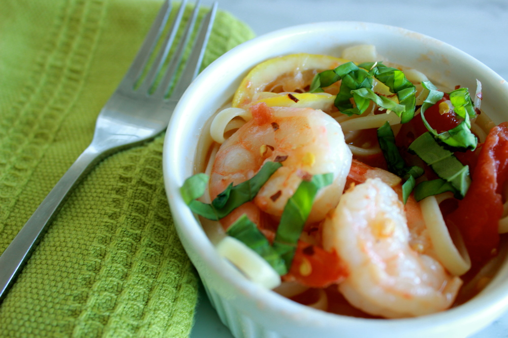 shrimp scampi with whole peeled tomatoes | half galley kitchen