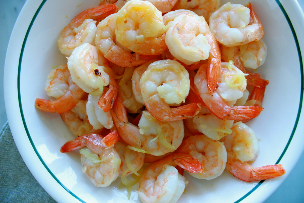 cooked shrimp | shrimp scampi with whole peeled tomatoes + basil | half galley kitchen