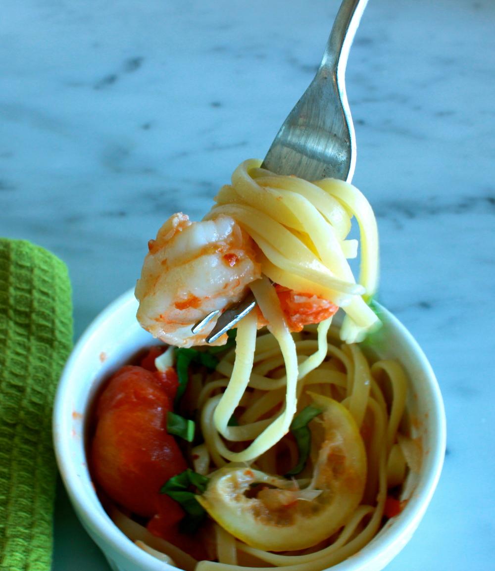 shrimp scampi with whole peeled tomatoes + basil