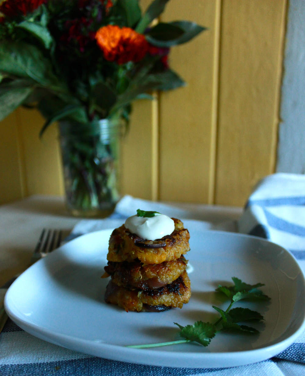 delicata squash + quinoa cakes with whipped goat cheese | half galley kitchen