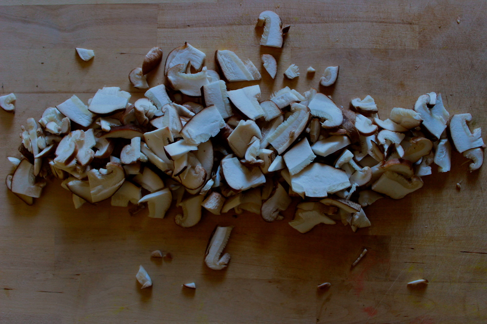 diced shiitake mushrooms at half galley kitchen